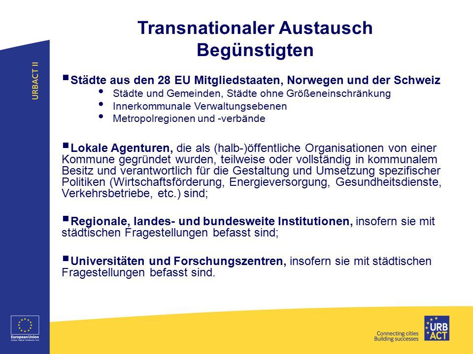 Transnationaler Austausch Begünstigten  Städte aus den 28 EU Mitgliedstaaten, Norwegen und der Schweiz Städte und Gemeinden, Städte ohne Größeneinsch