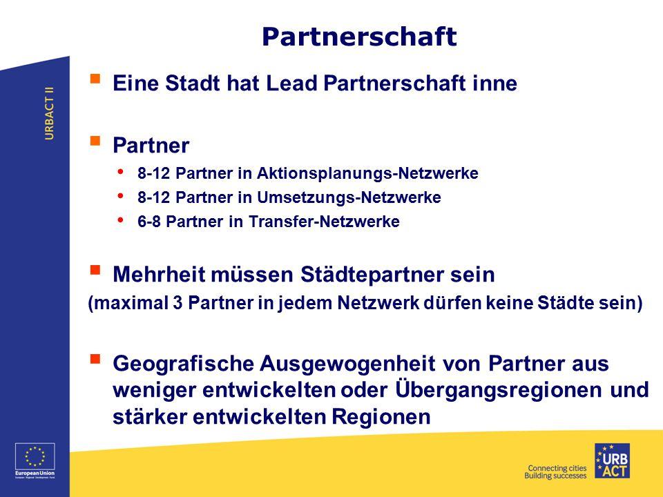 Partnerschaft  Eine Stadt hat Lead Partnerschaft inne  Partner 8-12 Partner in Aktionsplanungs-Netzwerke 8-12 Partner in Umsetzungs-Netzwerke 6-8 Pa