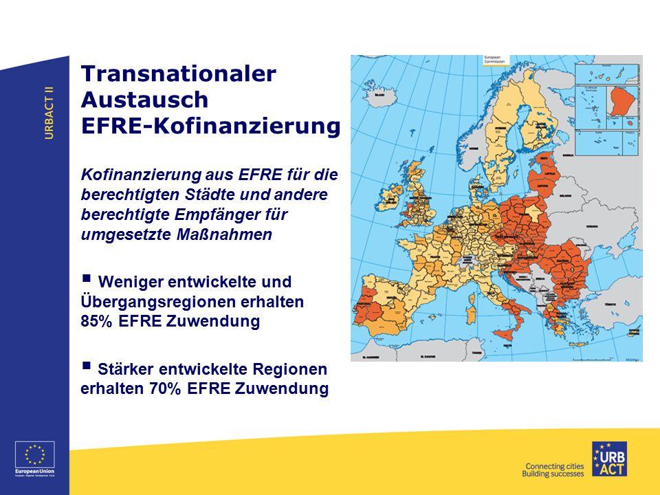 Transnationaler Austausch EFRE-Kofinanzierung Kofinanzierung aus EFRE für die berechtigten Städte und andere berechtigte Empfänger für umgesetzte Maßn