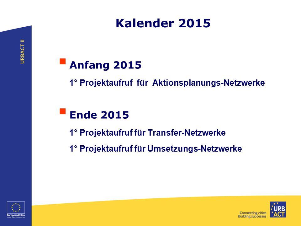 Kalender 2015  Anfang 2015 1° Projektaufruf für Aktionsplanungs-Netzwerke  Ende 2015 1° Projektaufruf für Transfer-Netzwerke 1° Projektaufruf für Um