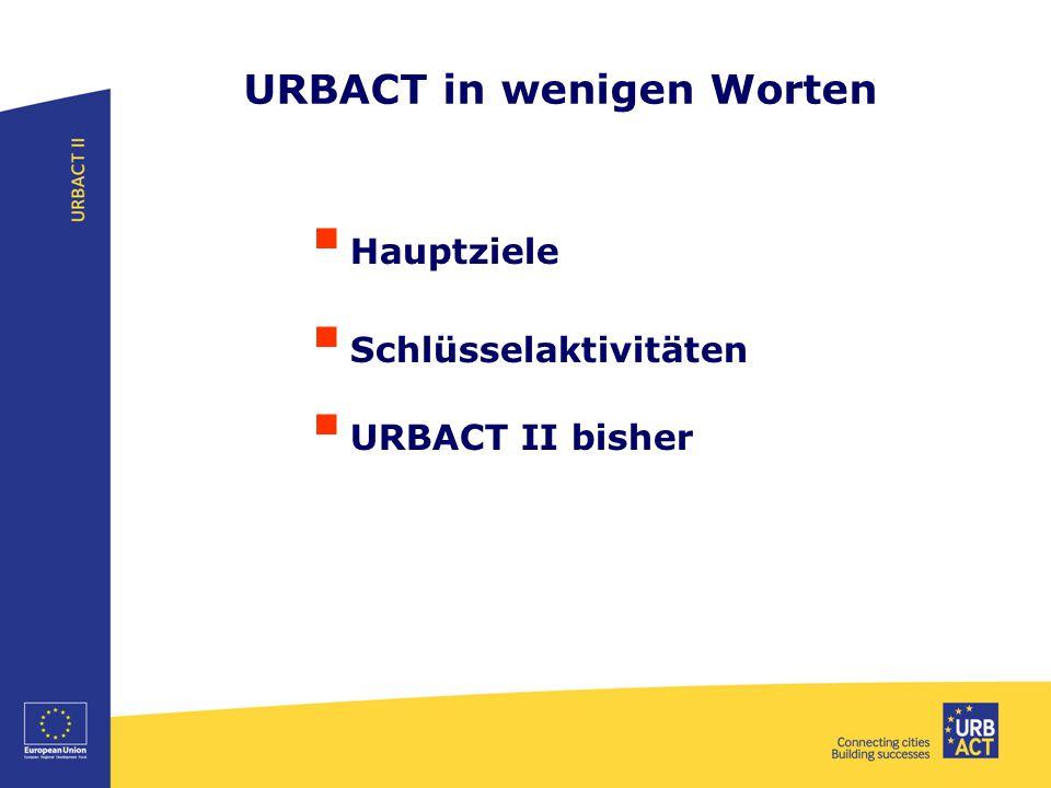 URBACT in wenigen Worten  Europäisches Programm der territorialen Zusammenarbeit 2014-2020 Finanziert durch EFRE und 30 Mitglieds- und Partnerstaaten, Budget: 96 Millionen € 2014-2020  Hauptziel Integrierte und nachhaltige Stadtentwicklung fördern  Wie.