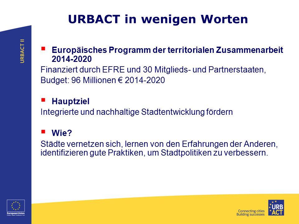URBACT in wenigen Worten  Europäisches Programm der territorialen Zusammenarbeit 2014-2020 Finanziert durch EFRE und 30 Mitglieds- und Partnerstaaten