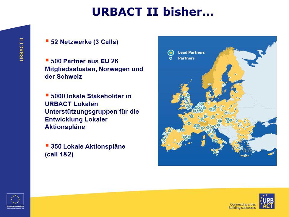 URBACT II bisher...  52 Netzwerke (3 Calls)  500 Partner aus EU 26 Mitgliedsstaaten, Norwegen und der Schweiz  5000 lokale Stakeholder in URBACT Lo
