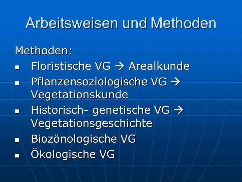 Arbeitsweisen und Methoden Methoden: Floristische VG  Arealkunde Floristische VG  Arealkunde Pflanzensoziologische VG  Vegetationskunde Pflanzensoz