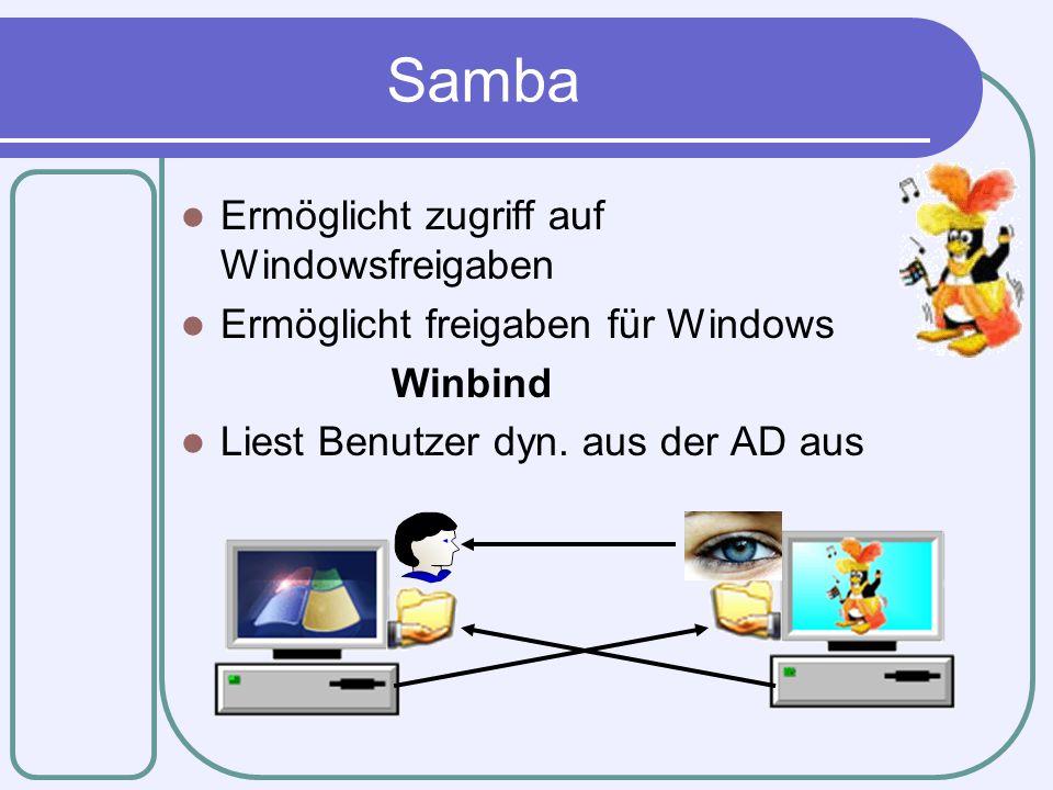 Samba Ermöglicht zugriff auf Windowsfreigaben Ermöglicht freigaben für Windows Winbind Liest Benutzer dyn. aus der AD aus