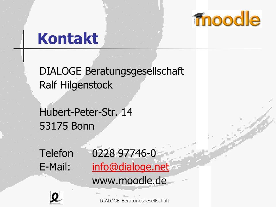 DIALOGE Beratungsgesellschaft Kontakt DIALOGE Beratungsgesellschaft Ralf Hilgenstock Hubert-Peter-Str. 14 53175 Bonn Telefon0228 97746-0 E-Mail: info@