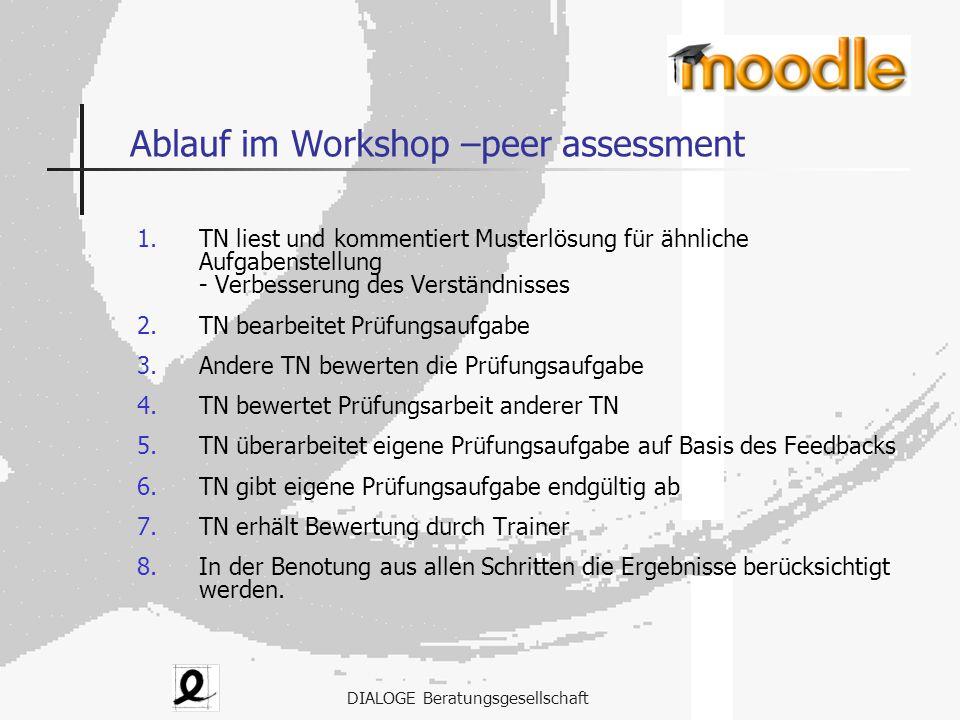 DIALOGE Beratungsgesellschaft Ablauf im Workshop –peer assessment 1.TN liest und kommentiert Musterlösung für ähnliche Aufgabenstellung - Verbesserung