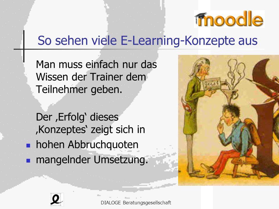 DIALOGE Beratungsgesellschaft So sehen viele E-Learning-Konzepte aus Man muss einfach nur das Wissen der Trainer dem Teilnehmer geben. Der 'Erfolg' di