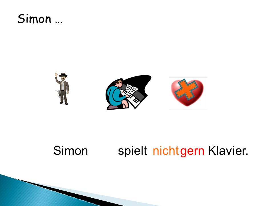 Simon … Simon spielt gern Klavier.nicht