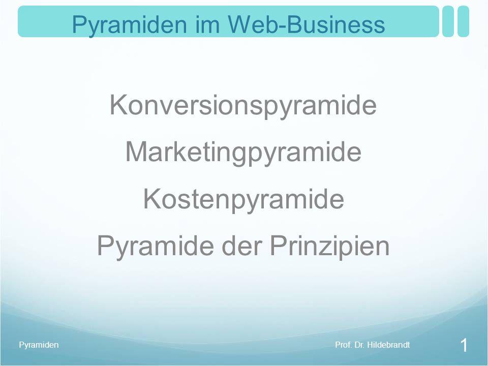 Pyramiden im Web-Business Konversionspyramide Marketingpyramide Kostenpyramide Pyramide der Prinzipien Prof.