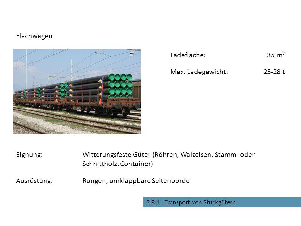 Rungen, umklappbare Seitenborde Flachwagen Eignung:Witterungsfeste Güter (Röhren, Walzeisen, Stamm- oder Schnittholz, Container) Max. Ladegewicht:25-2