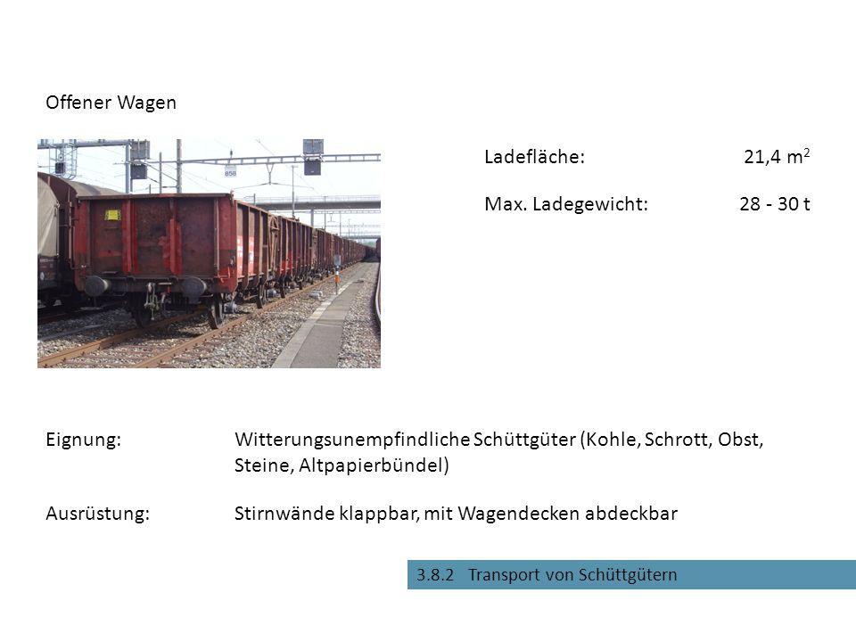 Entladeöffnungen für Schwerkraftentladung Offener Selbstentladewagen Eignung:Witterungsfeste Schüttgüter (Kies, Sand, Kohle etc.) Max.