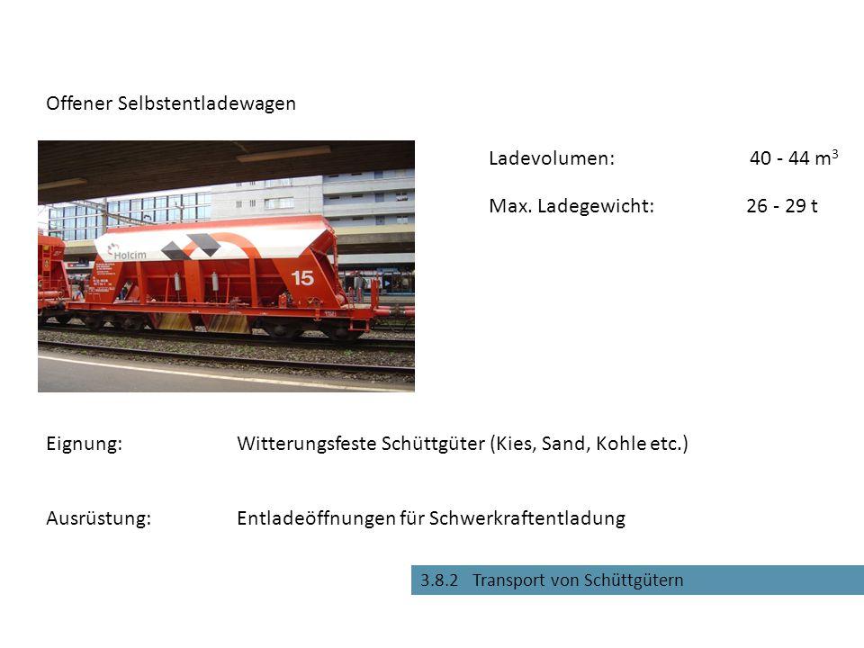 Entladeöffnungen für Schwerkraftentladung Offener Selbstentladewagen Eignung:Witterungsfeste Schüttgüter (Kies, Sand, Kohle etc.) Max. Ladegewicht:26