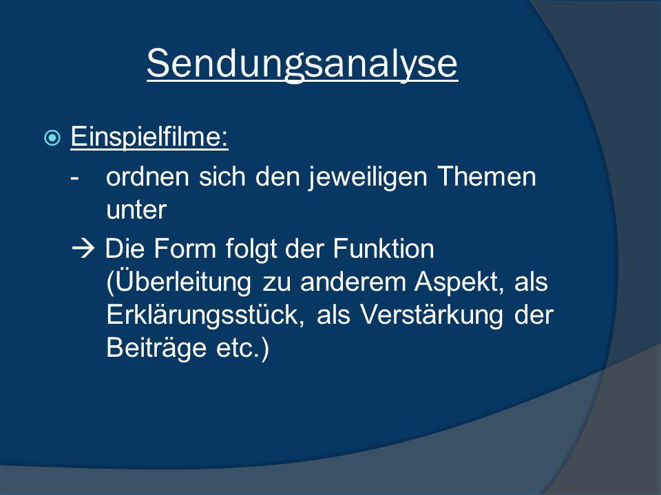 Sendungsanalyse  Einspielfilme: -ordnen sich den jeweiligen Themen unter  Die Form folgt der Funktion (Überleitung zu anderem Aspekt, als Erklärungsstück, als Verstärkung der Beiträge etc.)