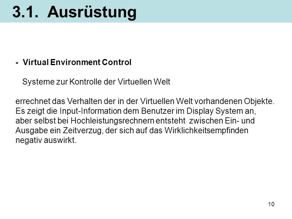 10 - Virtual Environment Control Systeme zur Kontrolle der Virtuellen Welt errechnet das Verhalten der in der Virtuellen Welt vorhandenen Objekte. Es