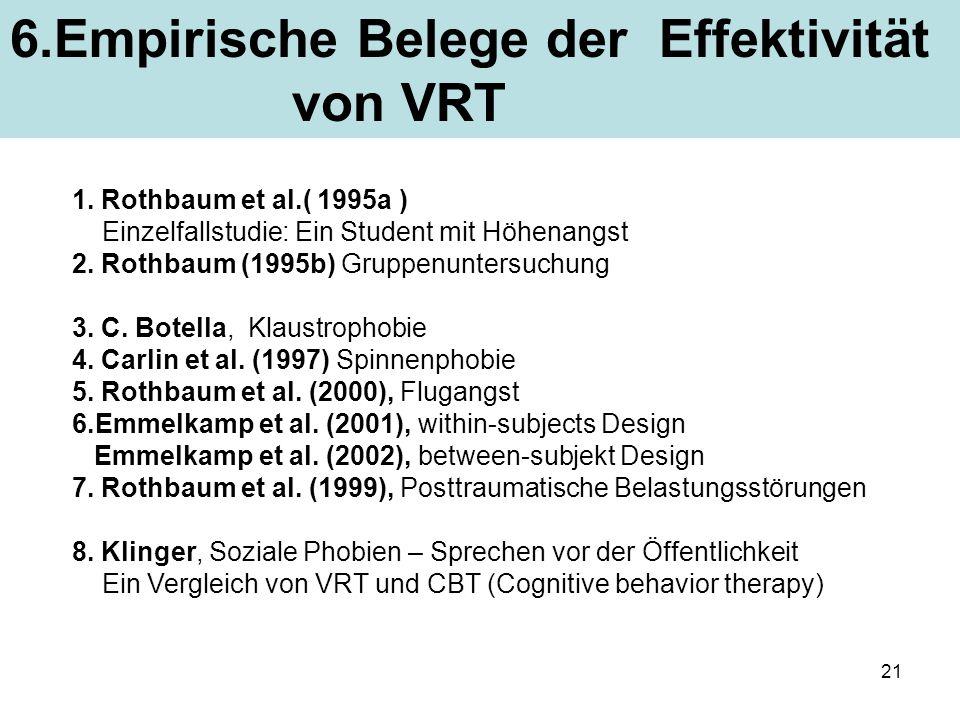 21 1. Rothbaum et al.( 1995a ) Einzelfallstudie: Ein Student mit Höhenangst 2. Rothbaum (1995b) Gruppenuntersuchung 3. C. Botella, Klaustrophobie 4. C