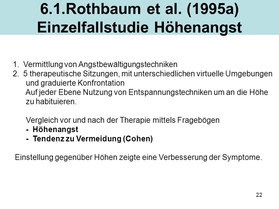 22 6.1.Rothbaum et al. (1995a) Einzelfallstudie Höhenangst 1.Vermittlung von Angstbewältigungstechniken 2.5 therapeutische Sitzungen, mit unterschiedl