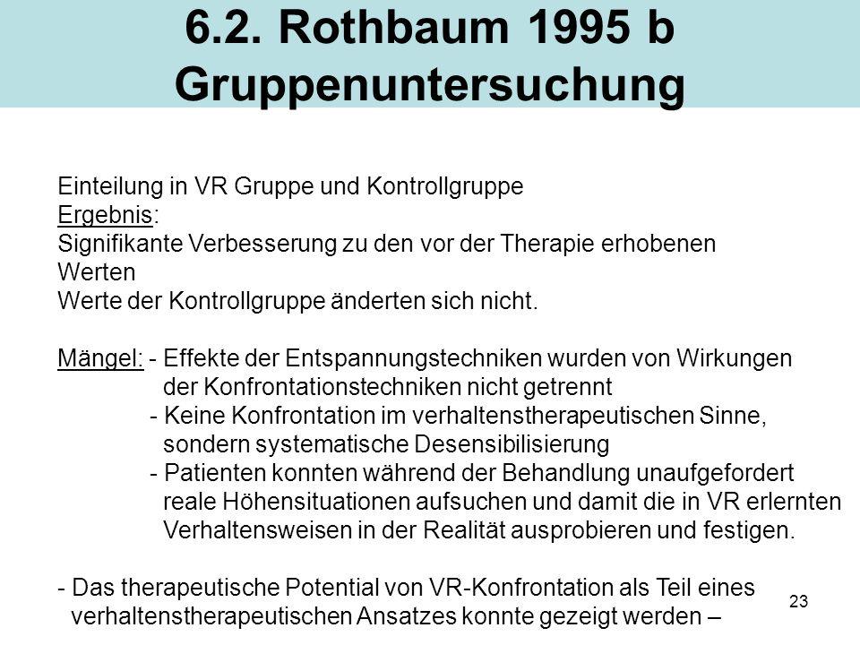23 6.2. Rothbaum 1995 b Gruppenuntersuchung Einteilung in VR Gruppe und Kontrollgruppe Ergebnis: Signifikante Verbesserung zu den vor der Therapie erh