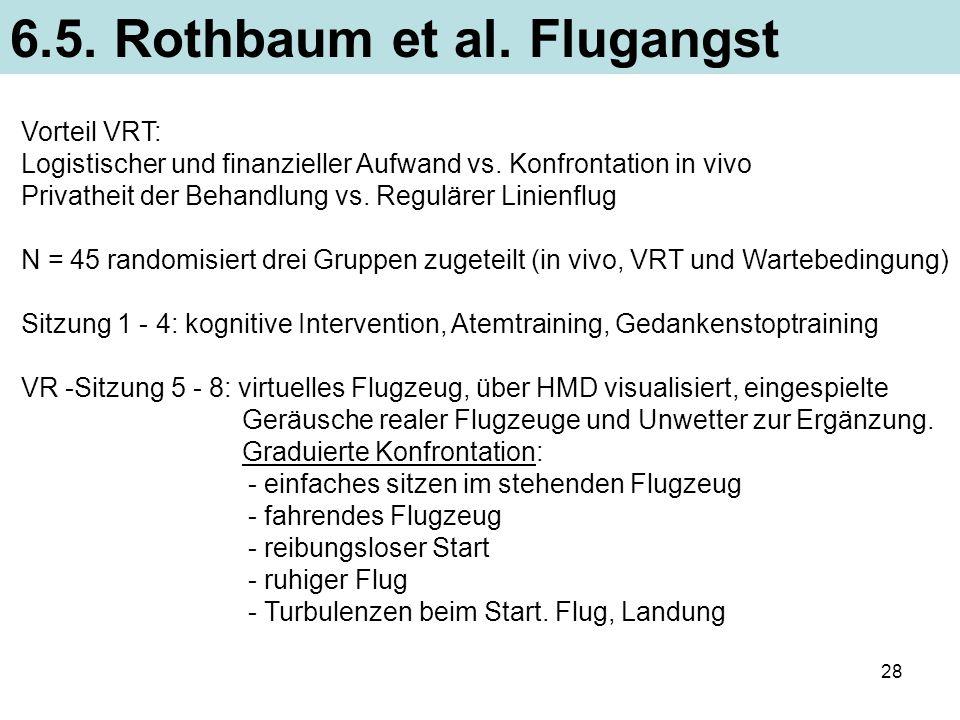 28 6.5. Rothbaum et al. Flugangst Vorteil VRT: Logistischer und finanzieller Aufwand vs. Konfrontation in vivo Privatheit der Behandlung vs. Regulärer