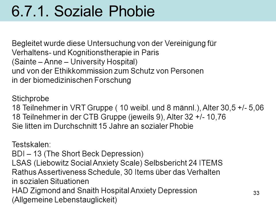 33 Begleitet wurde diese Untersuchung von der Vereinigung für Verhaltens- und Kognitionstherapie in Paris (Sainte – Anne – University Hospital) und vo