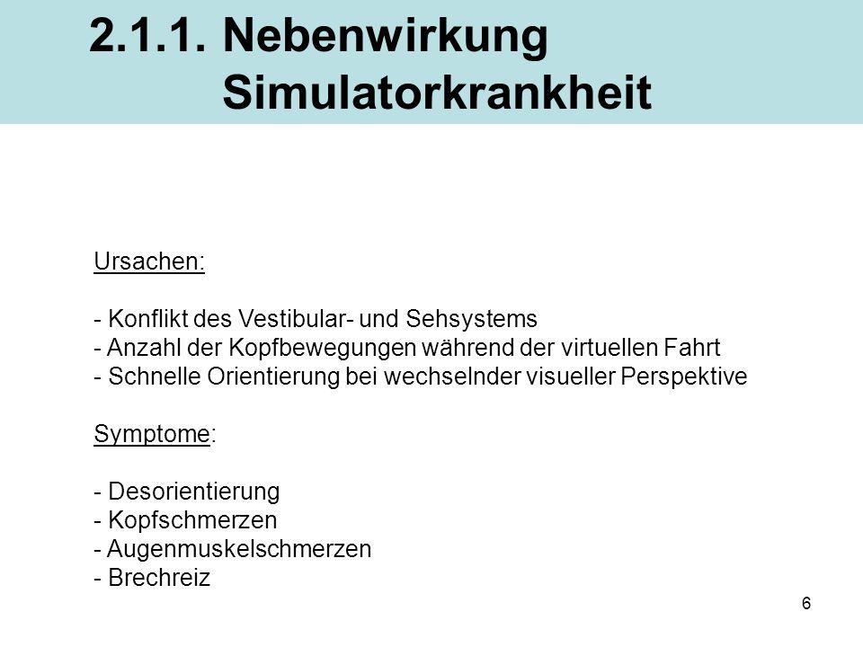 6 Ursachen: - Konflikt des Vestibular- und Sehsystems - Anzahl der Kopfbewegungen während der virtuellen Fahrt - Schnelle Orientierung bei wechselnder