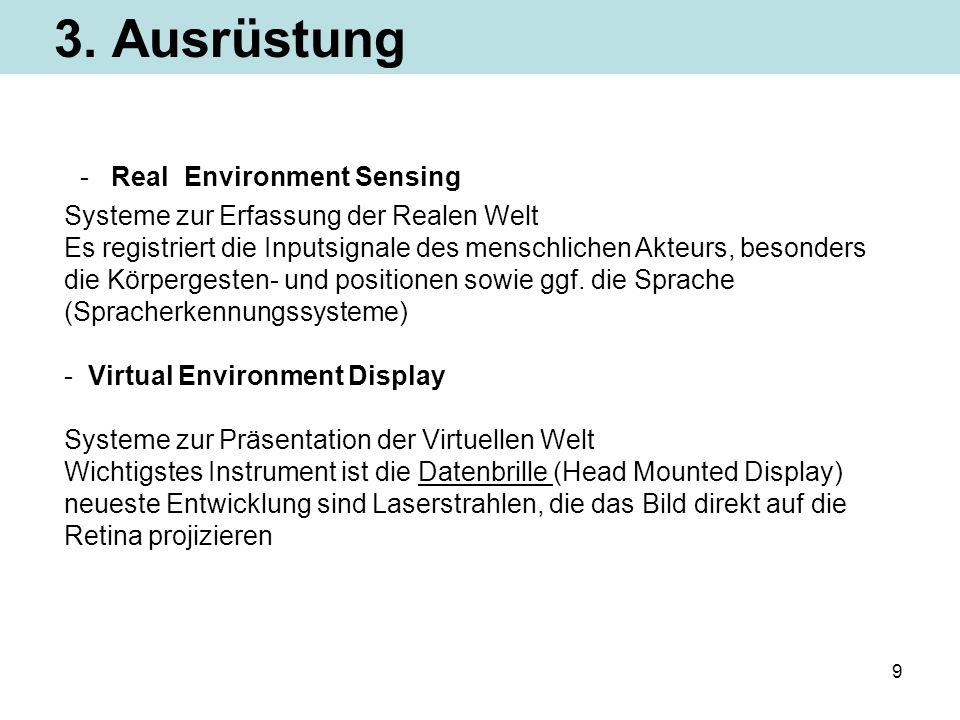 9 3. Ausrüstung - Real Environment Sensing Systeme zur Erfassung der Realen Welt Es registriert die Inputsignale des menschlichen Akteurs, besonders d
