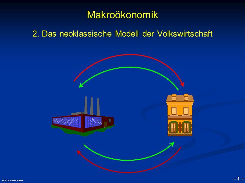 © RAINER MAURER, Pforzheim - 1 - Prof. Dr. Rainer Maurer Makroökonomik 2. Das neoklassische Modell der Volkswirtschaft