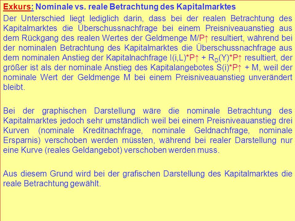 © RAINER MAURER, Pforzheim - 100 - Prof. Dr. Rainer Maurer Exkurs: Nominale vs. reale Betrachtung des Kapitalmarktes Der Unterschied liegt lediglich d
