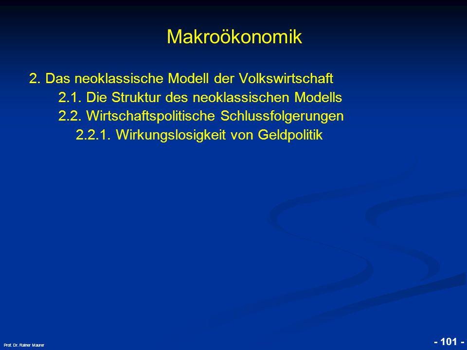 © RAINER MAURER, Pforzheim - 101 - Prof. Dr. Rainer Maurer Makroökonomik 2. Das neoklassische Modell der Volkswirtschaft 2.1. Die Struktur des neoklas