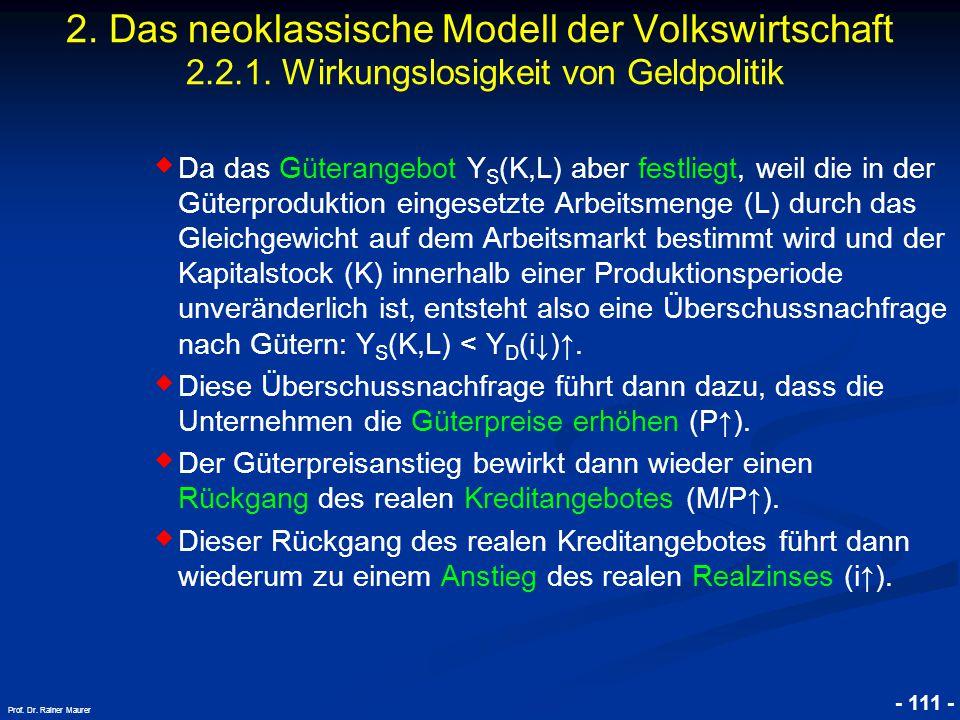 © RAINER MAURER, Pforzheim - 111 - Prof. Dr. Rainer Maurer 2. Das neoklassische Modell der Volkswirtschaft 2.2.1. Wirkungslosigkeit von Geldpolitik ◆