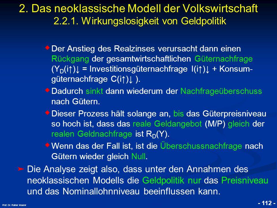 © RAINER MAURER, Pforzheim - 112 - Prof. Dr. Rainer Maurer 2. Das neoklassische Modell der Volkswirtschaft 2.2.1. Wirkungslosigkeit von Geldpolitik ◆