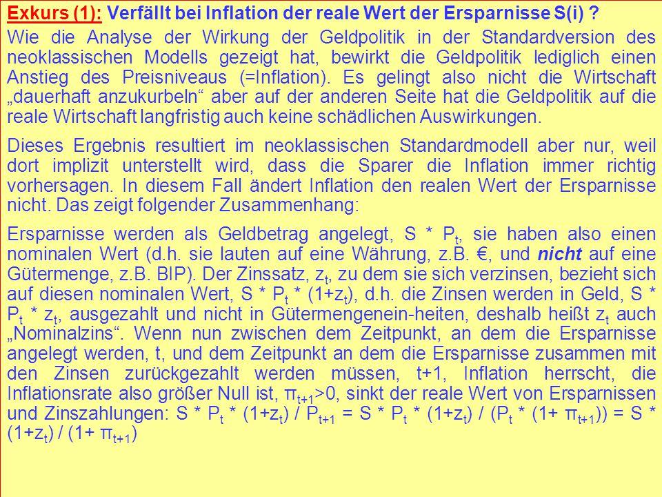 © RAINER MAURER, Pforzheim - 113 - Prof. Dr. Rainer Maurer Exkurs (1): Verfällt bei Inflation der reale Wert der Ersparnisse S(i) ? Wie die Analyse de
