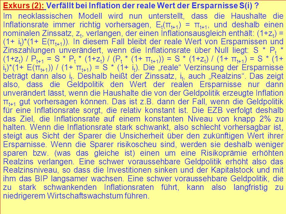 © RAINER MAURER, Pforzheim - 114 - Prof. Dr. Rainer Maurer Exkurs (2): Verfällt bei Inflation der reale Wert der Ersparnisse S(i) ? Im neoklassischen