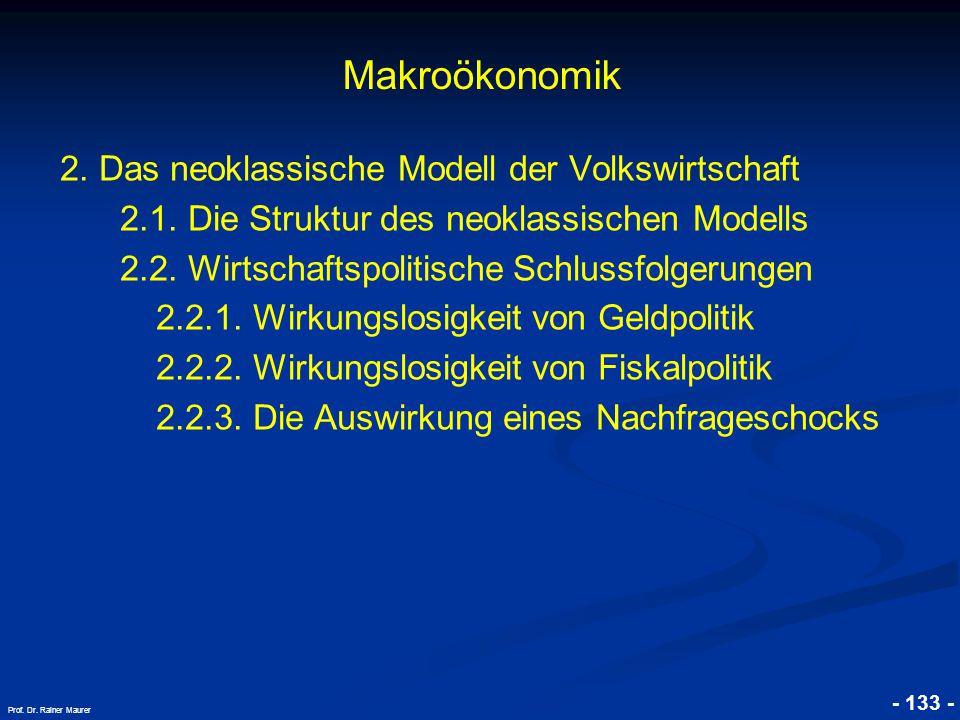 © RAINER MAURER, Pforzheim - 133 - Prof. Dr. Rainer Maurer Makroökonomik 2. Das neoklassische Modell der Volkswirtschaft 2.1. Die Struktur des neoklas