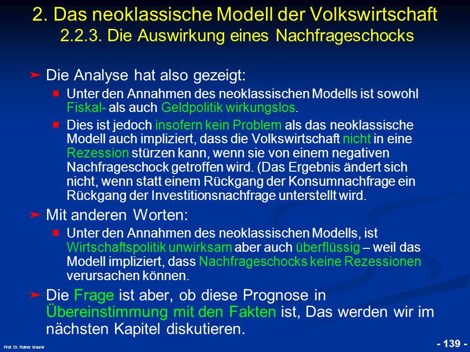 © RAINER MAURER, Pforzheim - 139 - Prof. Dr. Rainer Maurer ➤ Die Analyse hat also gezeigt: ■ Unter den Annahmen des neoklassischen Modells ist sowohl