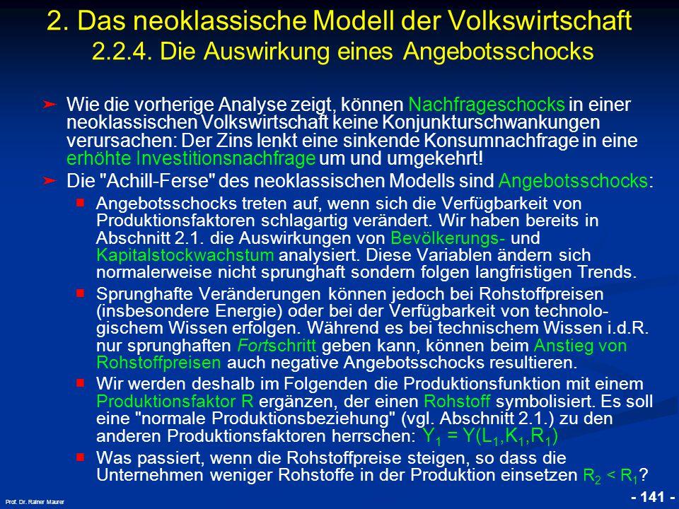 © RAINER MAURER, Pforzheim - 141 - Prof. Dr. Rainer Maurer ➤ Wie die vorherige Analyse zeigt, können Nachfrageschocks in einer neoklassischen Volkswir