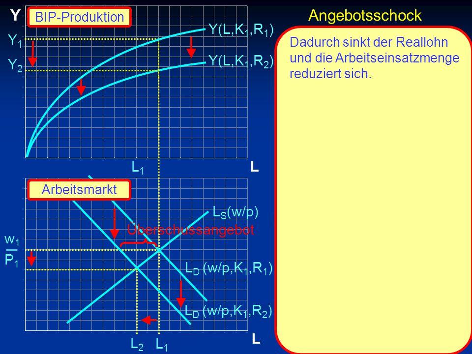 © RAINER MAURER, Pforzheim P1P1 w1w1 _ L Y L Y2Y2 L1L1 L1L1 Y(L,K 1,R 2 ) L S (w/p) L D (w/p,K 1,R 2 ) Y(L,K 1,R 1 ) Dadurch sinkt der Reallohn und die Arbeitseinsatzmenge reduziert sich.
