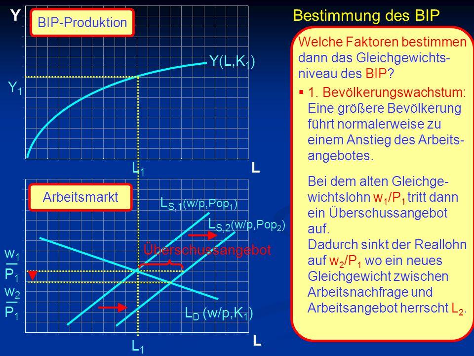 © RAINER MAURER, Pforzheim P1P1 w1w1 _ L Y L L1L1 L1L1 Y(L,K 1 ) Welche Faktoren bestimmen dann das Gleichgewichts- niveau des BIP?  1. Bevölkerungsw