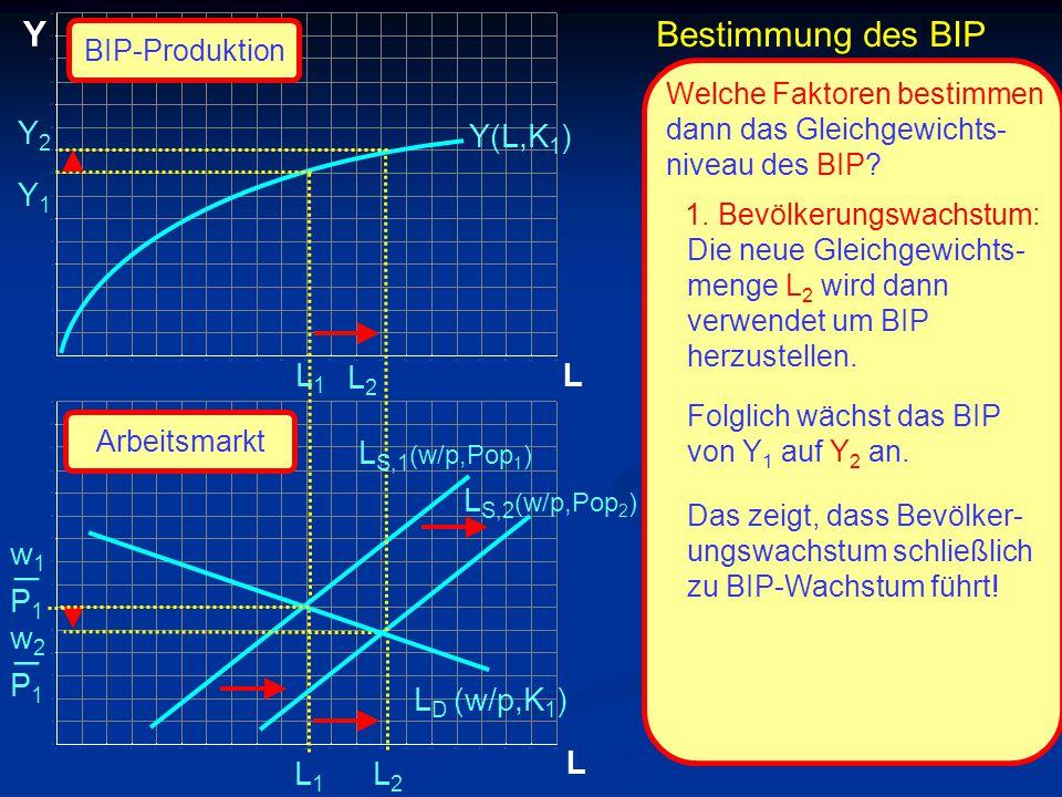 © RAINER MAURER, Pforzheim P1P1 w1w1 _ L Y L Y1Y1 L1L1 L1L1 Y(L,K 1 ) Welche Faktoren bestimmen dann das Gleichgewichts- niveau des BIP? 1. Bevölkerun