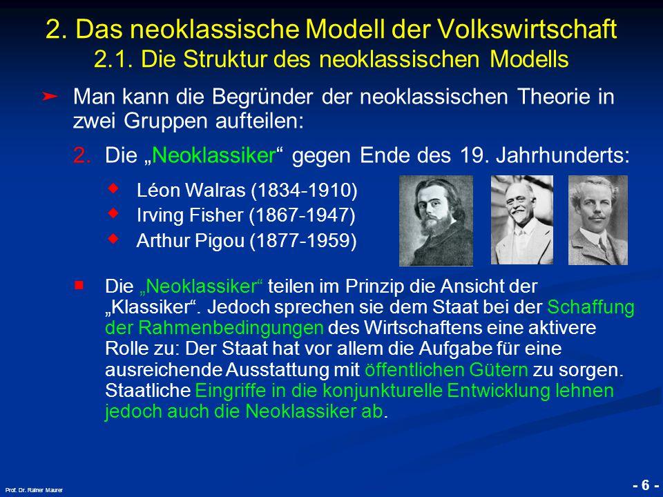 """© RAINER MAURER, Pforzheim - 6 - Prof. Dr. Rainer Maurer ➤ Man kann die Begründer der neoklassischen Theorie in zwei Gruppen aufteilen: 2.Die """"Neoklas"""