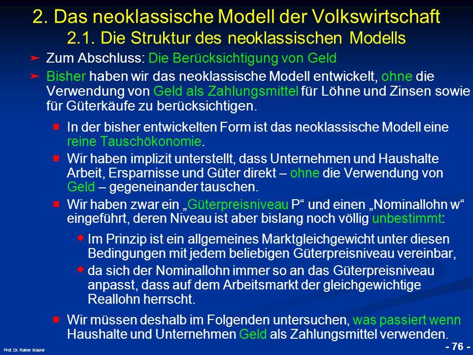 © RAINER MAURER, Pforzheim - 76 - Prof. Dr. Rainer Maurer 2. Das neoklassische Modell der Volkswirtschaft 2.1. Die Struktur des neoklassischen Modells