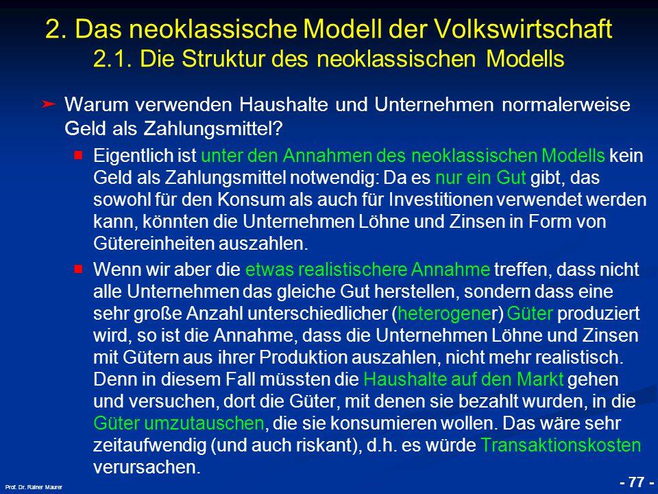 © RAINER MAURER, Pforzheim - 77 - Prof. Dr. Rainer Maurer 2. Das neoklassische Modell der Volkswirtschaft 2.1. Die Struktur des neoklassischen Modells