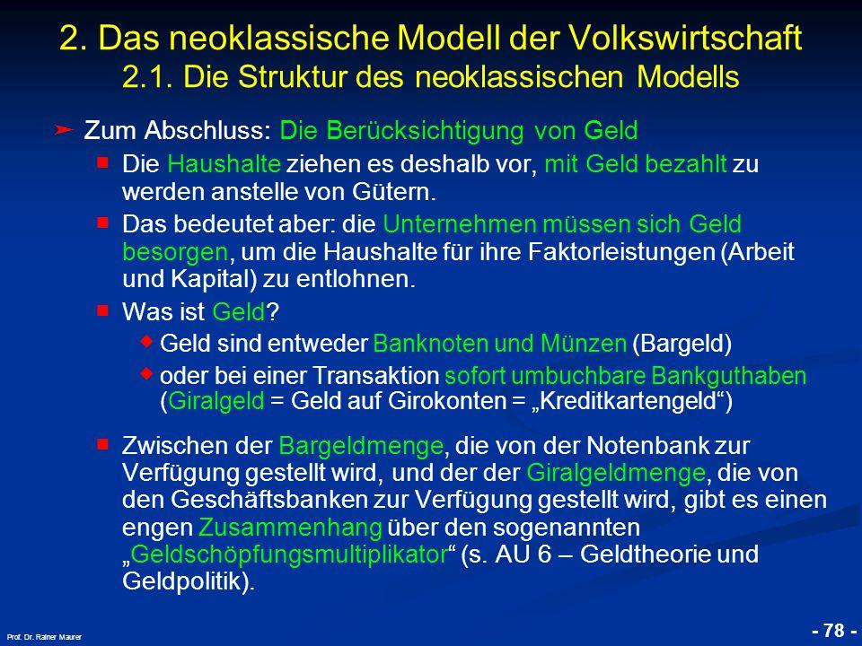 © RAINER MAURER, Pforzheim - 78 - Prof. Dr. Rainer Maurer 2. Das neoklassische Modell der Volkswirtschaft 2.1. Die Struktur des neoklassischen Modells