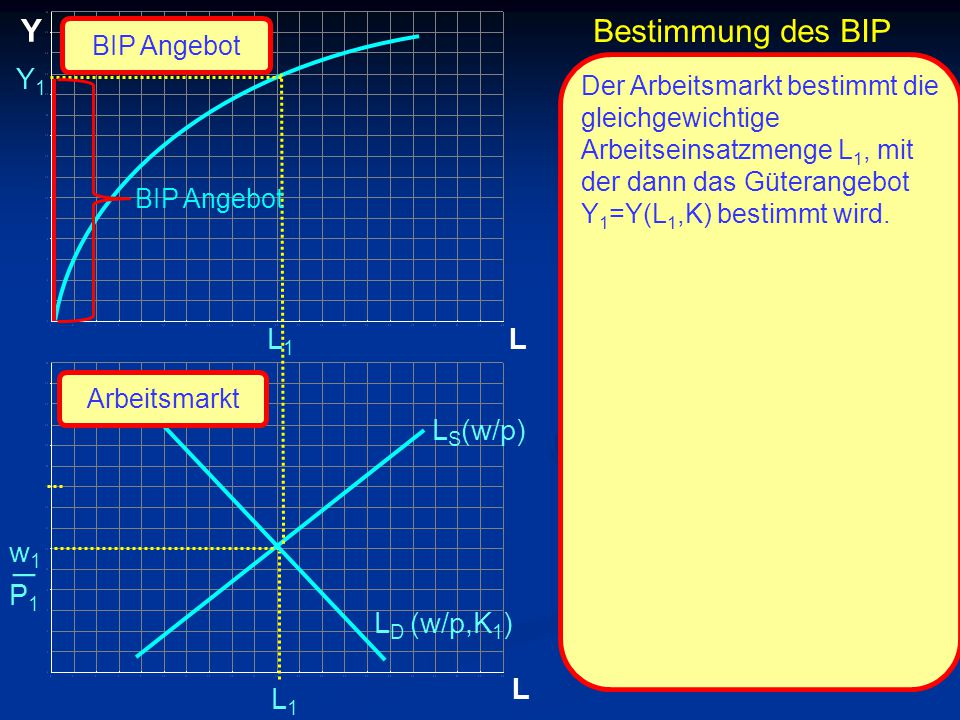 © RAINER MAURER, Pforzheim Bestimmung des BIP L Y L L1L1 L1L1 L S (w/p) BIP Angebot L D (w/p,K 1 ) Arbeitsmarkt Der Arbeitsmarkt bestimmt die gleichgewichtige Arbeitseinsatzmenge L 1, mit der dann das Güterangebot Y 1 =Y(L 1,K) bestimmt wird.