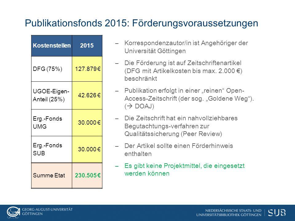 Publikationsfonds 2015: Förderungsvoraussetzungen –Korrespondenzautor/in ist Angehöriger der Universität Göttingen –Die Förderung ist auf Zeitschriftenartikel (DFG mit Artikelkosten bis max.