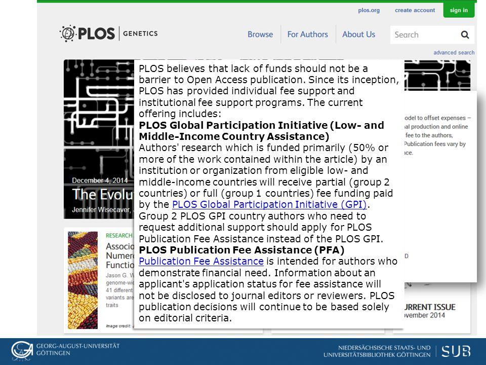 """Peer Review in PLoS zielt auf """"soundness ab, nicht auf Originalität Stark formalisierter Review-Prozess, der u.U."""