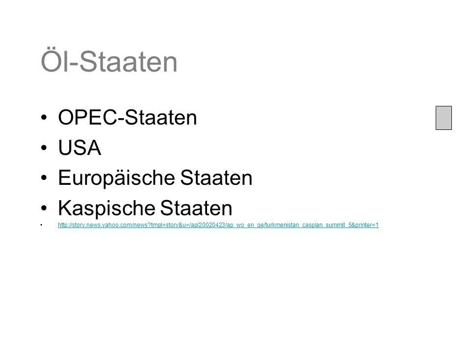 Öl-Staaten OPEC-Staaten USA Europäische Staaten Kaspische Staaten http://story.news.yahoo.com/news?tmpl=story&u=/ap/20020423/ap_wo_en_ge/turkmenistan_