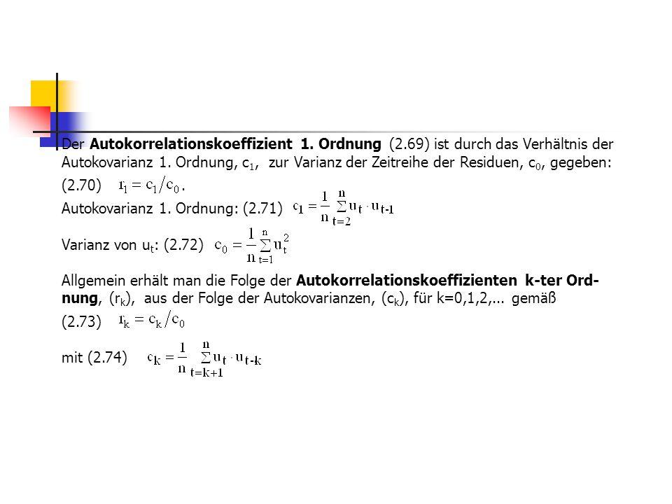Der Autokorrelationskoeffizient 1. Ordnung (2.69) ist durch das Verhältnis der Autokovarianz 1. Ordnung, c 1, zur Varianz der Zeitreihe der Residuen,