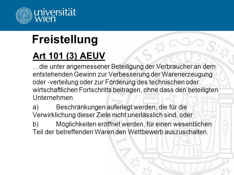 Freistellung Art 101 (3) AEUV …die unter angemessener Beteiligung der Verbraucher an dem entstehenden Gewinn zur Verbesserung der Warenerzeugung oder