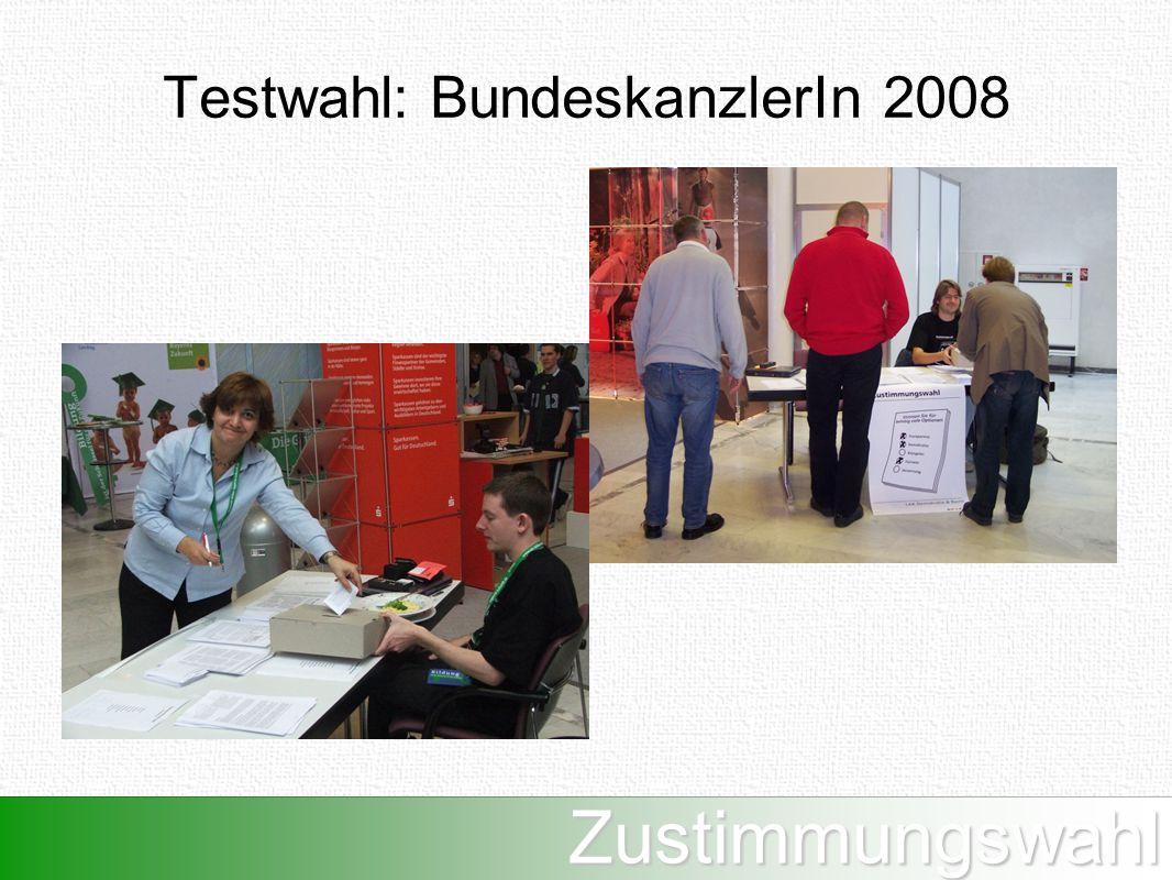 Zustimmungswahl Testwahl: BundeskanzlerIn 2008